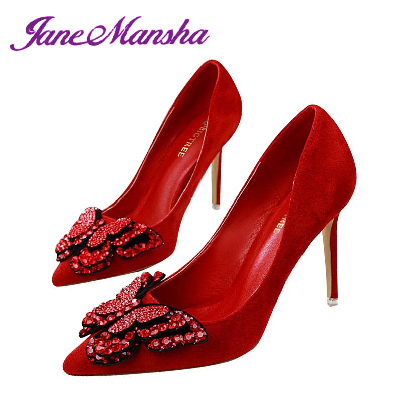 Wedding Shoes Women ELEGANT Butterfly Rhinestone Thin Heels Flock Pointed Toe Slip On High Heels Women Pumps Escarpins PHP079(China (Mainland))