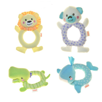free shipping lovely baby hand bell rattles Plush kid toys 4pcs/ lot