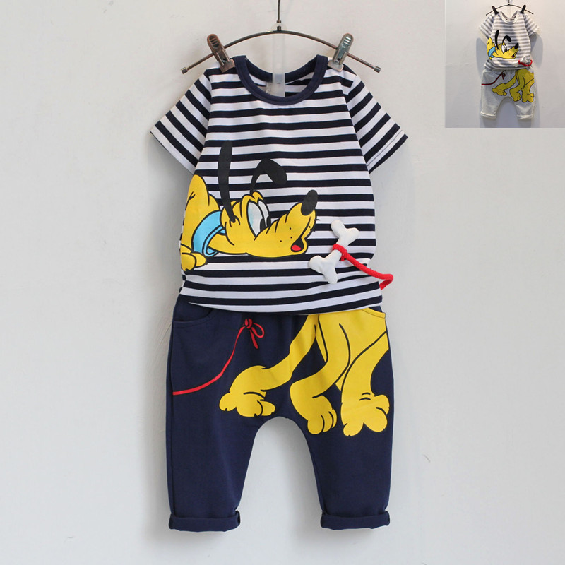 Free Shipping!2015 New Summer Boys 2pcs set Male child short-sleeve t-shirt+ cross pants Lovely Cartoon Dog set(China (Mainland))