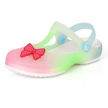 2015 New Trench Girls Sandals for Summer Gradient Colors Children Antiskid Sandal Princess Kids Plain Bow