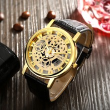 Classic Men's Skeleton Hollow Shape Business Wrist Watch Fashion Pu Leather Metal Casual Round dial