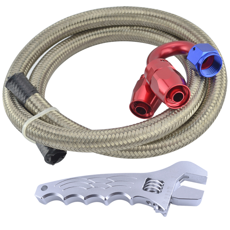 AN6 Oil Fuel Hose 1Meter Stainless Steel Braided Hose Line 3.3FT+AN6 Straight 180 Degree Swivel Fittings With Aluminum Spanner(China (Mainland))