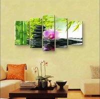 wall art Purple flowers water side home decoration abstract Landscape oil painting on canvas  DY-170 Printed canvas painting