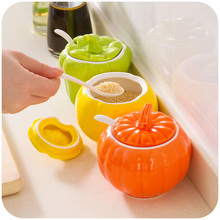 Free shipping Creative Kitchen vegetables modeling ceramic spice jar, fashion seasoning box with a spoon C1510(China (Mainland))