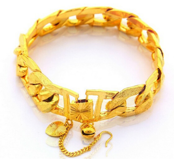 New Arrival Free Shipping Fashion 24K Gold Plated Purple Jewelry 15mm Chain Bracelet Yellow Gold Golden Bracelet Bangle(China (Mainland))