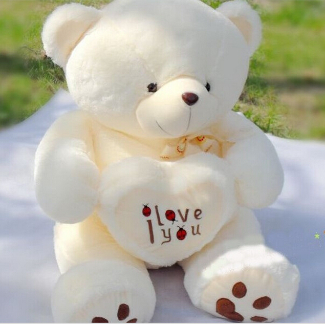 50cm Stuffed Plush Toy Holding LOVE Heart Big Plush Teddy Bear Soft Gift for Valentine Day Birthday Girls' Brinquedos(China (Mainland))
