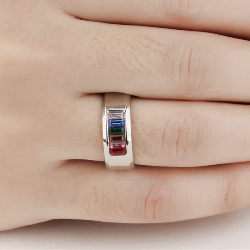 Unisex Lovers Stainless Steel Color Zircon Rings Jewelry Brand Finger Rings Punk Fashion Couple Rings High Polished 2016(China (Mainland))