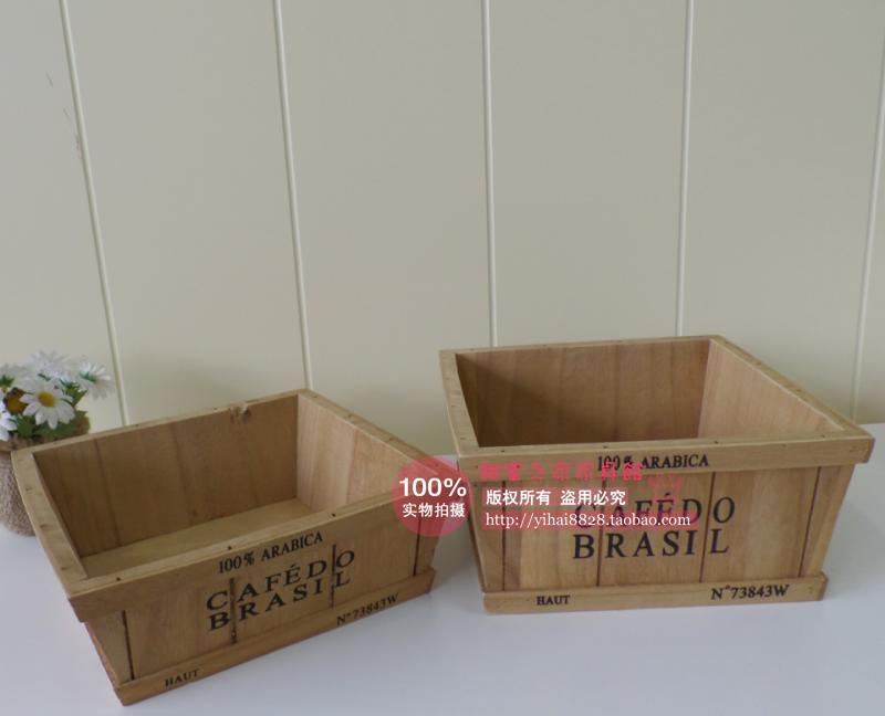 zakka do the old wood vintage garden pots succulents storage box wooden flowerpot Assortment(China (Mainland))