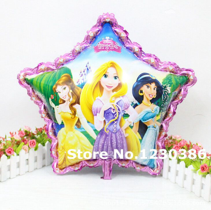 Pentagramme Star Three Princess Birthday Foil Inflatable Balloons Party Decoration Air Balloon Children's Gifts(China (Mainland))