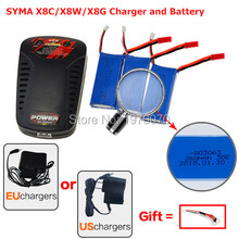 SYMA X8C X8W X8G HQ H899 Spare part RC Quadcopter 3x 7.4V 2000mAh Batteries + EU/US Plug balance Charger drone accessories