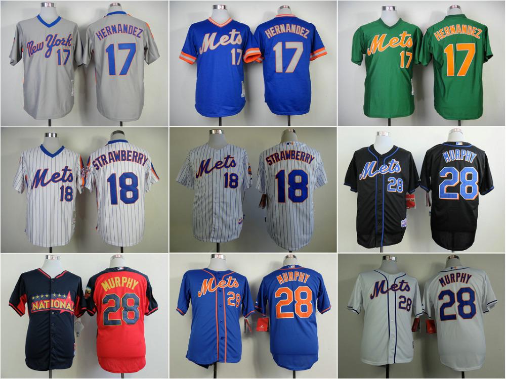 Old Player New York Mets Jerseys 17 Keith Hernandez 18 Darryl Strawberry 28 Daniel Murphy blue/home/white/black Baseball Jersey - Personality jerseys store