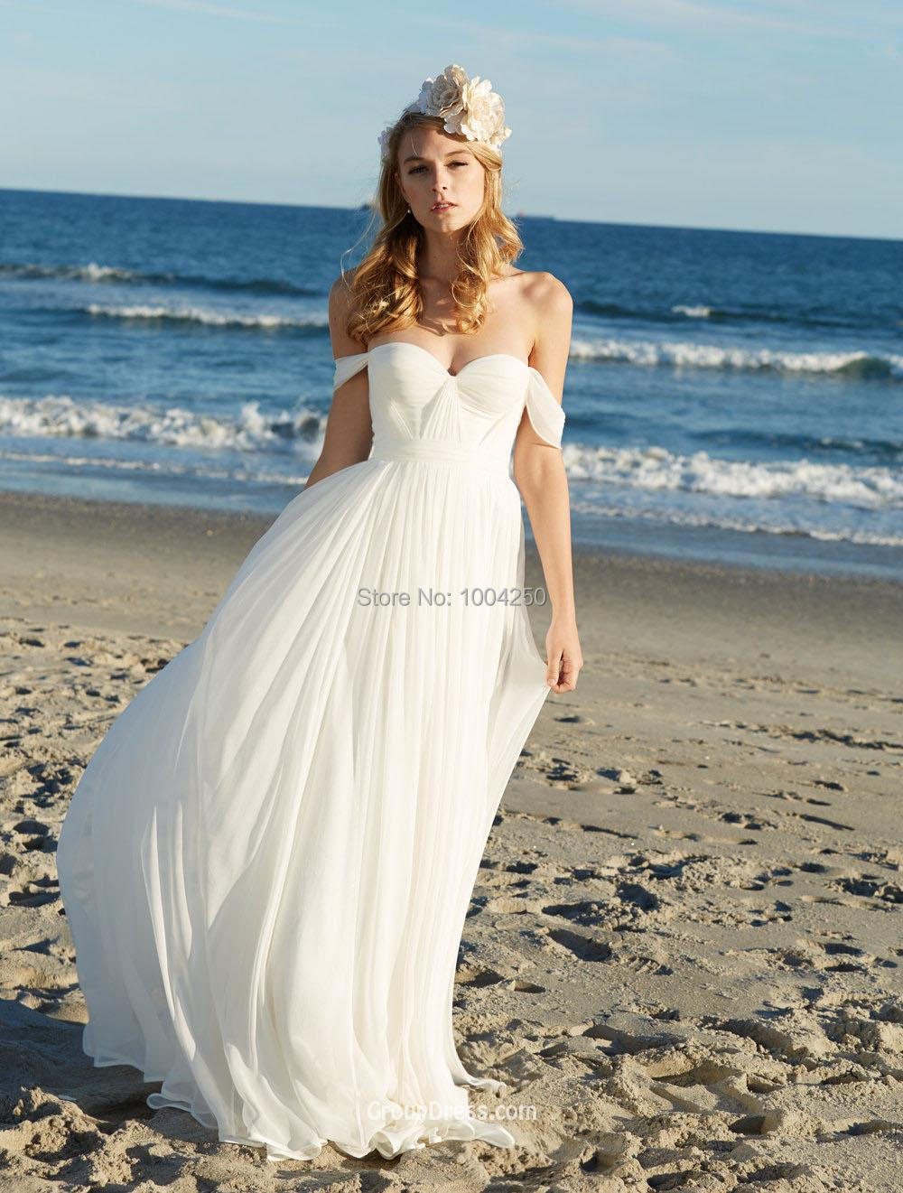 rw013 sexy off the shoulder chiffon beach wedding dress