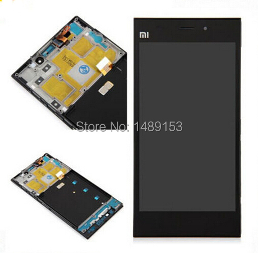 For xiaomi 3 m3 mi3 Black LCD Display Panel Screen + Digitizer Touch Sreen Glass Assembly With Frame Replacement(China (Mainland))