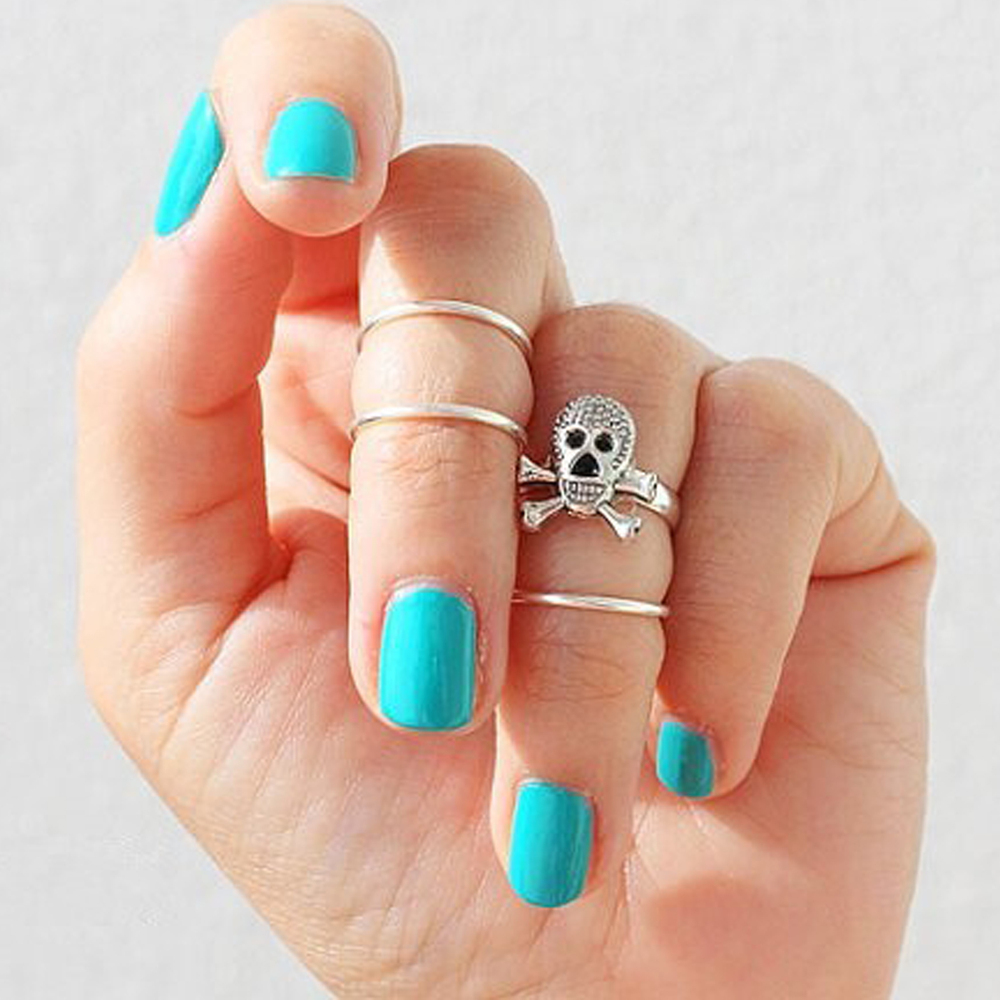 4 PCS/Set Celebrity Gothic Punk Gold Skull Head Knuckle Midi Mid Finger Tip Stacking Above Ring Set Gift Drop Free(China (Mainland))