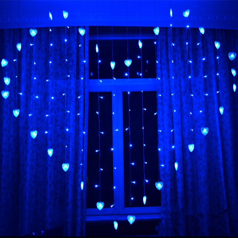 2016 2M x 1.5m Heart Shape 128 Hearts Multicolor LED String Holiday Light Christmas Wedding Decoration Curtain lights EU 220v(China (Mainland))