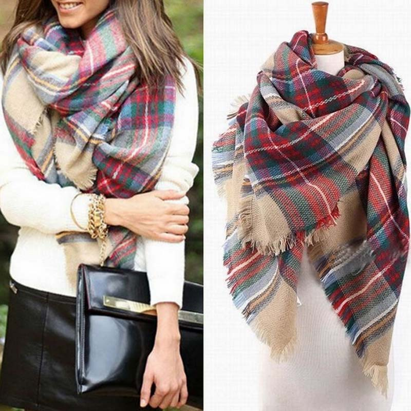 2016 Fashion Blanket Oversized font b Tartan b font Scarf Wrap Shawl Plaid Cozy Checked Pashmina