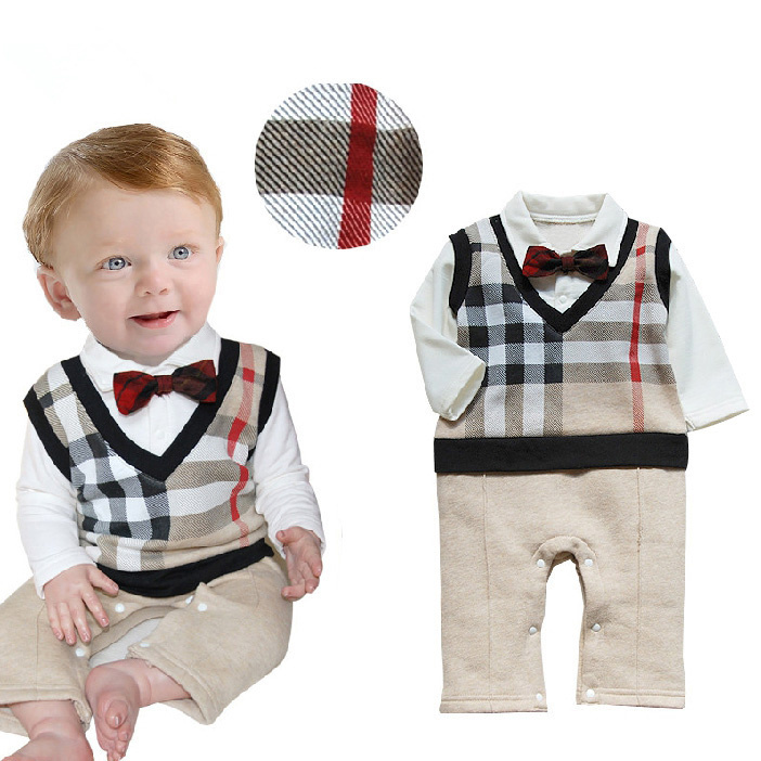 (2015 hot sale) baby boy gentleman Fake two jumpsuit baby clothing plaid baby rompers(China (Mainland))