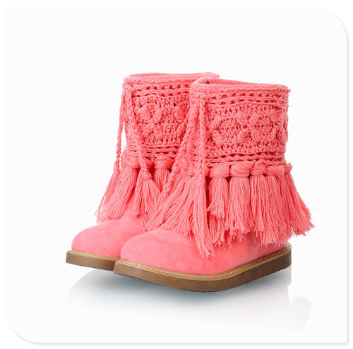 2014 sping/autumn winter tassel Black, brown, beige, pink women snow boots Artificial short plush shoes - ufodiag car club store