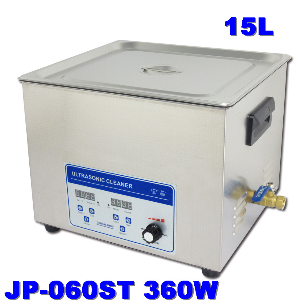 Free Shipping car industry 110V/220V JP-060ST 360W Ultrasonic Cleaners 15L Cleaning Equipment Stainless Steel Cleaning Machine(China (Mainland))