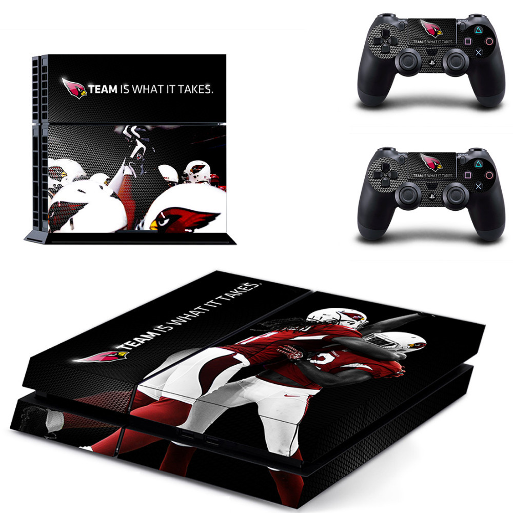 NFL Arizona Cardinals PS4 Skin Sticker Decal For Sony Playstation 4 PS 4 Console and Controllers Stickers PS4 Accessory