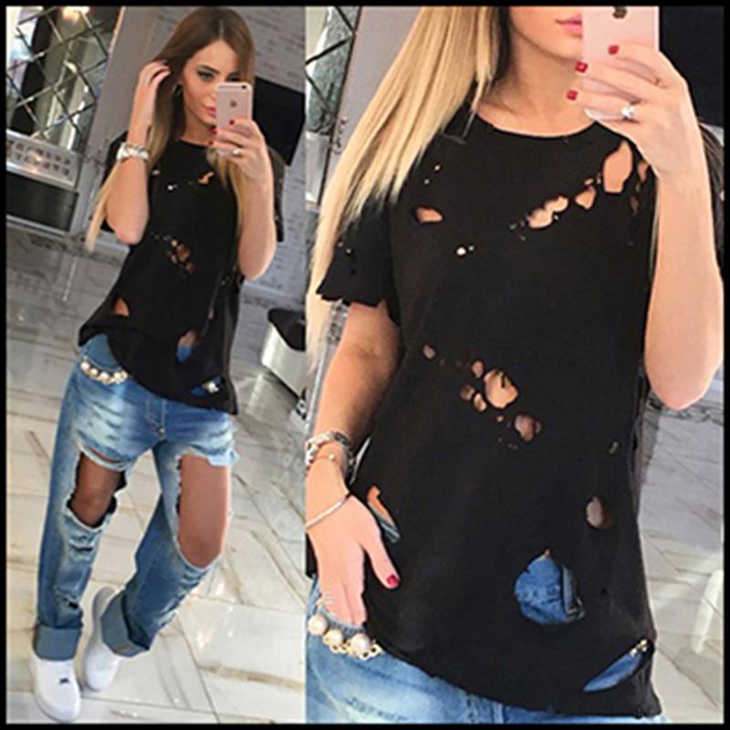 Harajuku 2016 Summer New Casual Women's T Shirt Fashion Hole Tops Tees Solid O-Neck Short Sleeve Plus Size Basic T shirts Women(China (Mainland))