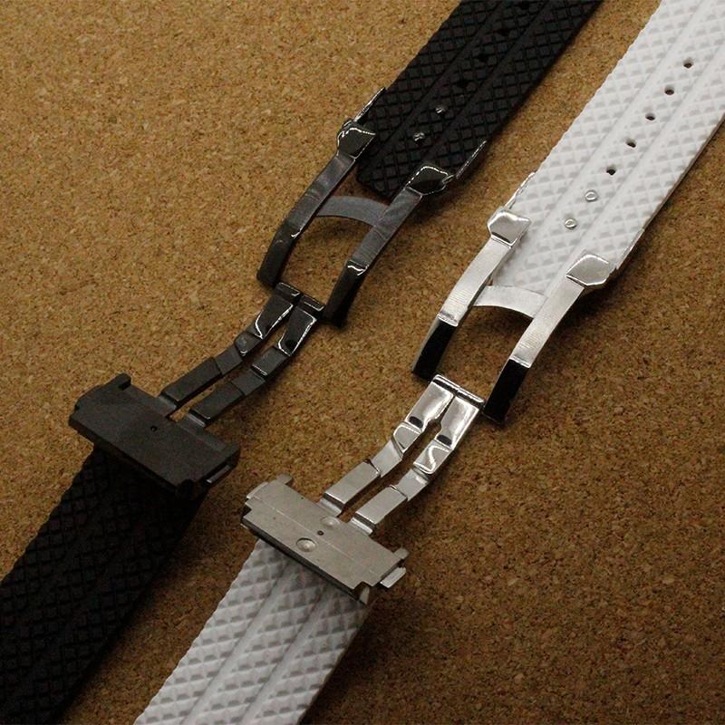 Белый ремешки серебряный складная застежка аксессуары 26 мм x 19 мм ( часы наконечник ) пряжка 22 мм естественный силиконовой резины ремни