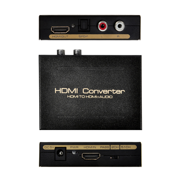 New V1.4 HDMI to HDMI Converter Extractor Splitter SPDIF R/L+Video Audio Out HDCP Remover US & EU Plug Adapter(China (Mainland))