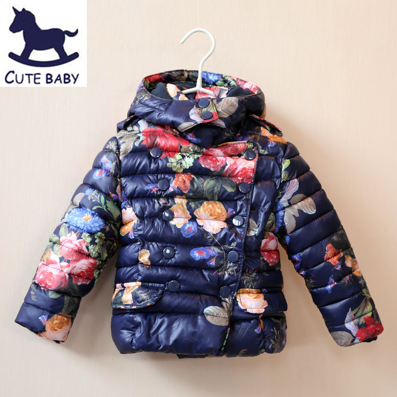 2015 Girls Winter Jacket Children's Coat Printed jackets for baby girls children's clothing Girls Parkas&Outerwear for 2-10Y(China (Mainland))