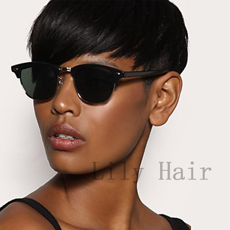 Cheap African American Short Bob Cut Wigs Short Human Brazilian Hair Wigs For Black Women Black Pixie Cut Short Full Lace Wig(China (Mainland))