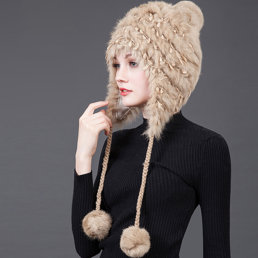 2016 New Arrival Women's Winter Hat Natural Fur Rabbit Knitted Cap Long Whip Beanies Hat Wool Inside Lovely Hot Sale Russia(China (Mainland))
