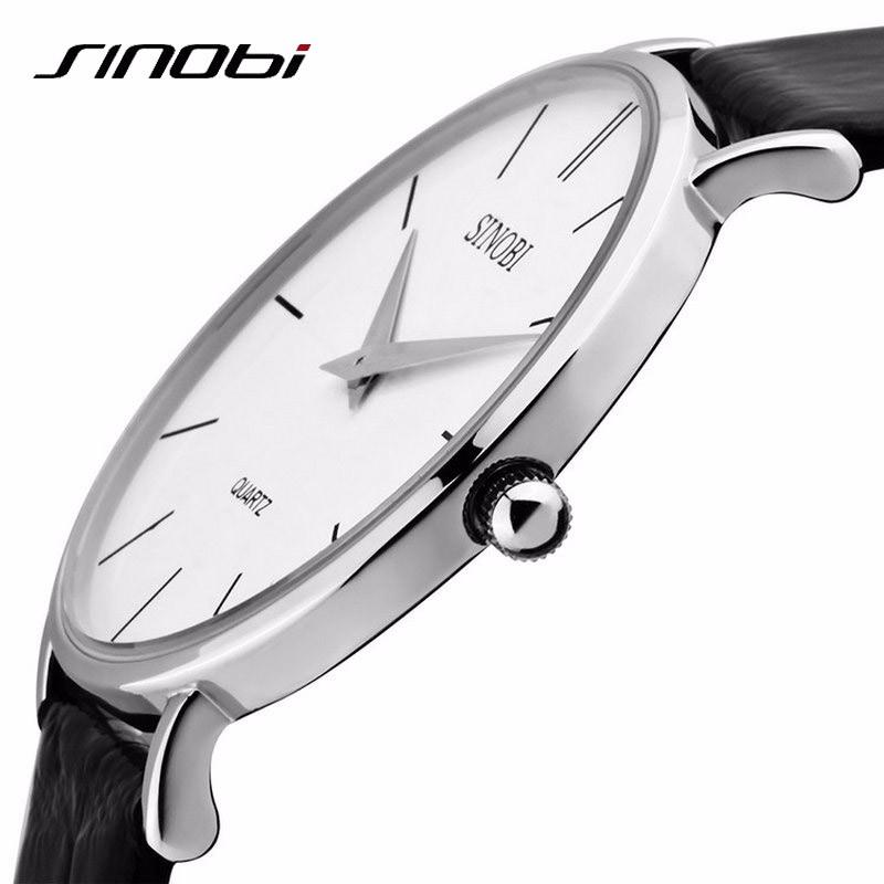 Super Slim Quartz Casual Sport Wristwatch Business Japan SINOBI Brand Leather Analog Best Quartz Watch Men's 2016 relojes hombre(China (Mainland))