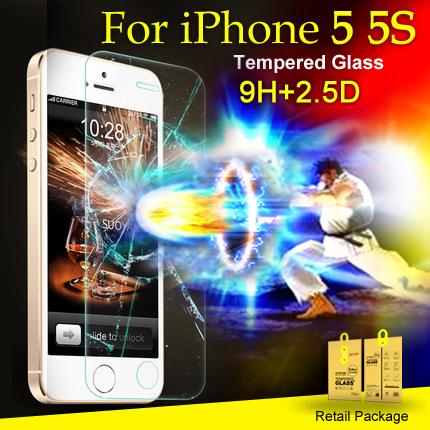 0.2mm Tempered Glass Premium Real Film Screen Protector iPhone5S iphone 5C 5 Retail Package - Good View (HK store Trading Co.,Ltd)