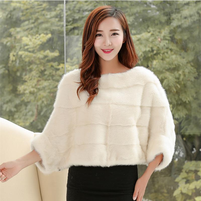 2015 fashion Autumn and winter fur mink jumper coat faux mink overcoat jacket coat women's black white pullover