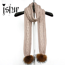 2015 Warm Winter New Stylish Multi-Color Wool Blend with Real Raccoon Fur Pom Pom Cable Knit Scarf for Women