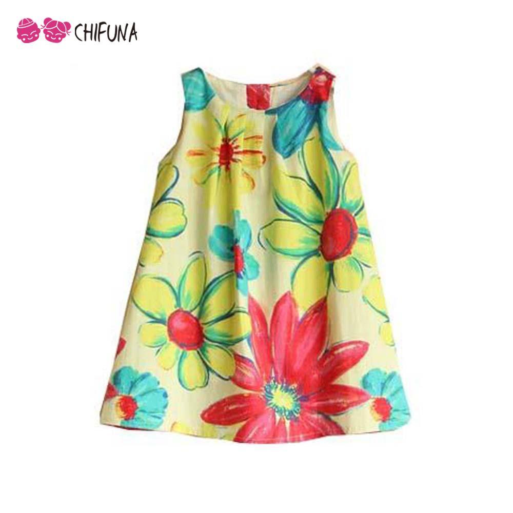 New Summer 2016 Baby Girl Dress Sleeveless Princess Dress Children Floral Sundress Top Quality Cotton Kids Clothing Summe Dress(China (Mainland))