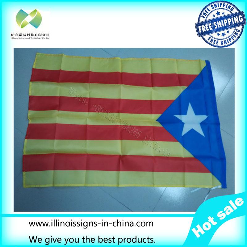 Spain Flag Catalonian bendera, 60 x 90 cm Polyester Catalunya Catalans Estelada blava bendera, Dan spanduk, Bandera Catalana(China (Mainland))