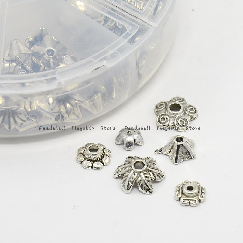 1Box Metal Flower Bead Caps Vintage Filigree DIY Jewelry Making Findings Mixed Silver Plated Accessories components supplies(China (Mainland))