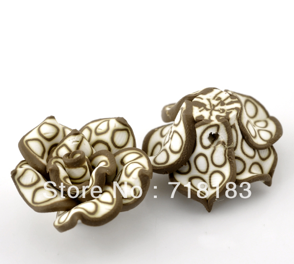 Wholesale 30 Pcs Coffee Polymer Clay Flower Charm Craft Loose Beads 25x14mm Making Jewelry DIY(China (Mainland))