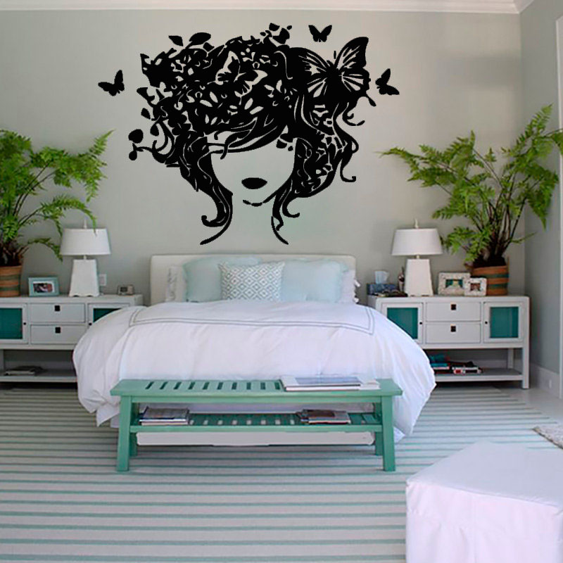 Bedroom Headboard Wall Decor : Fashion creative home decor butterflies hair lady wall