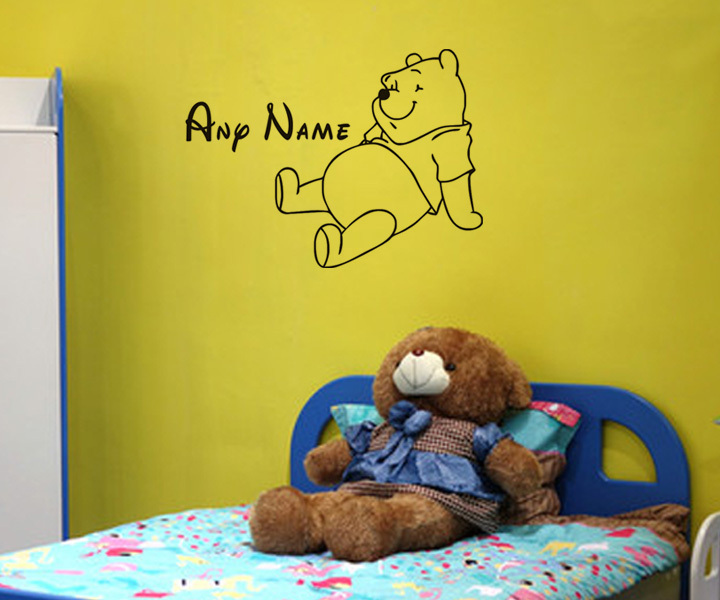 Creative Decal Funny Products Cartoon Cute Pooh Sat On Your Home Bedroom Accessories Wall Stickers For Decoration Room(China (Mainland))