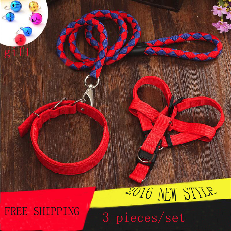 2016 New style High Quality Nylon Large Dog Leashes Pet Traction Rope Collar Set For Small Dog 8 Color Size S-XXL(China (Mainland))