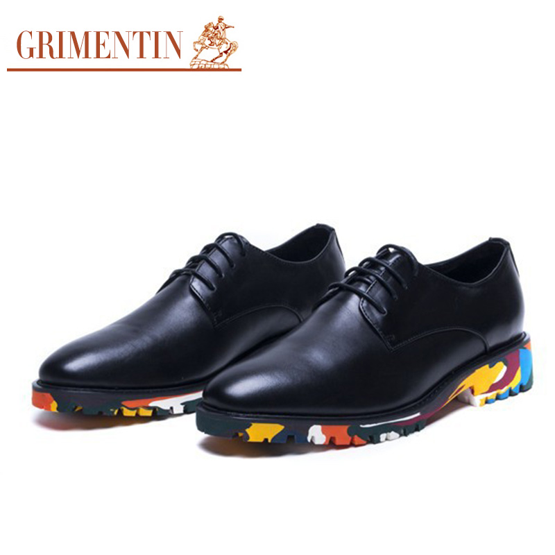 GRIMENTIN fashion British style cool mens casual shoes genuine leather black purple men outdoor shoe basic flats for party z417(China (Mainland))