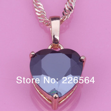 New Arrival Top Quality Black Sapphire Zircon 18K Gold Plated Fashion jewelry Heart-shaped  Pendant D027(China (Mainland))