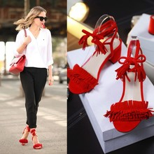 C1007 big size women girl Pop stars same design Tassel sandals thick high heels Casual Lace Up dress party shoes pumps for Lady(China (Mainland))
