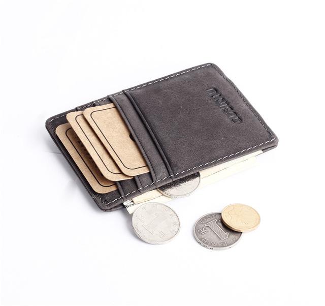 Тонкий старинные натуральная кожа зажим для денег кошельки для мужчин передний карман ...