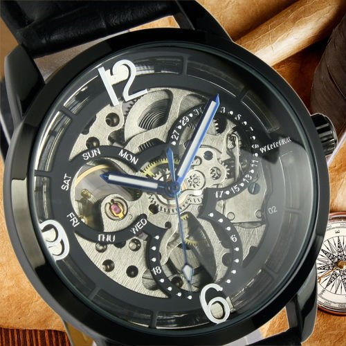 Elegant Unisex Men's & Women's Black Dial Strap Luxury Mickey Mechanical Automatic Watch Free Shipping(China (Mainland))