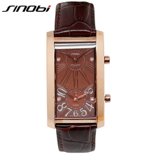 SINOBI Luxury Dual Movement Rhinestone Lovers Watch Genuine Leather Watches For Men Dual Time Quartz-watch Mens Clock