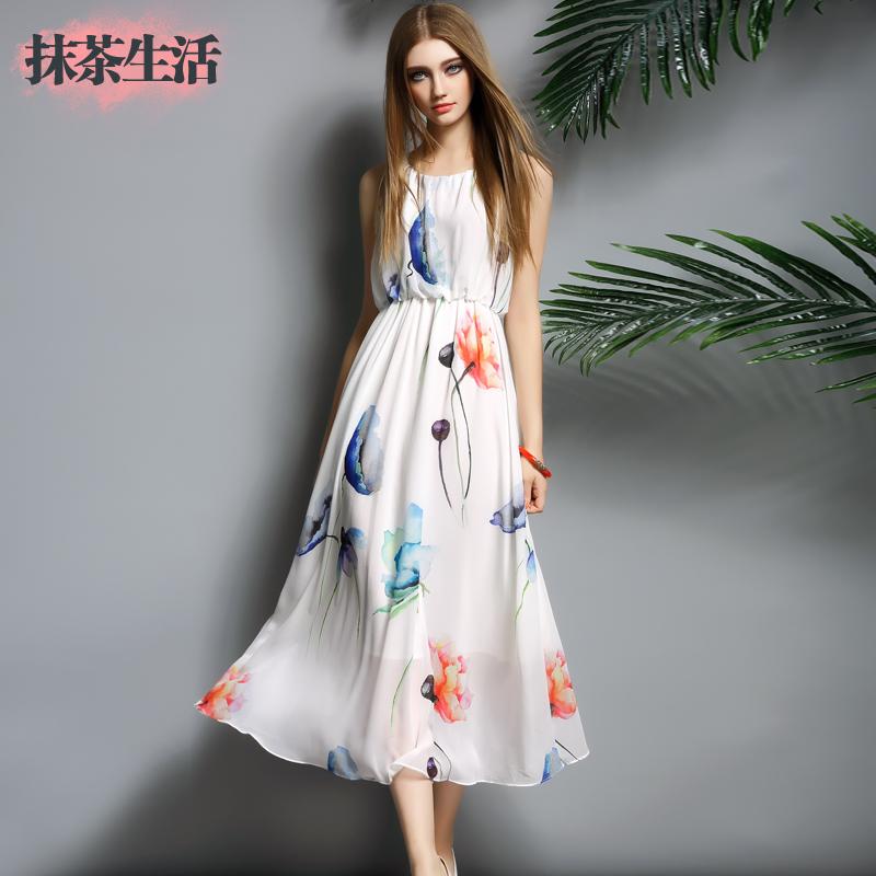 2015 Summer Ladies' One-piece Dress Women's Fashion Sleeveless Print Full Dress Chiffon Slim Beach Dress