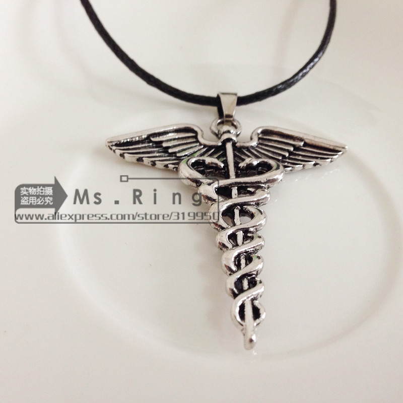 New 2014 Hot Wholesale Percy Jackson Angle Wings Magic Wand Caduceus Pendant Necklace Movies Jewelry