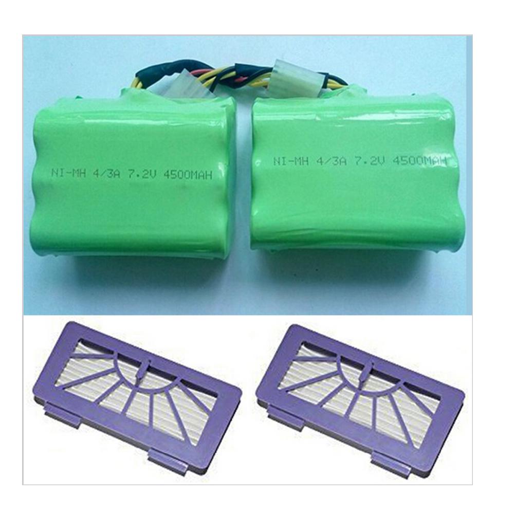 2Pcs Neato Filter & 2Pcs 7.2v 4500mAh Battery Pack For Neato XV-21 XV-11 XV-14 XV-15 robot vacuum cleaner parts neato xv battery(China (Mainland))